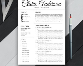 Professional Resume Template, CV Template, Cover Letter, MS Word, Mac & PC, Modern Simple Creative Teacher Resume, Instant Download, Claire