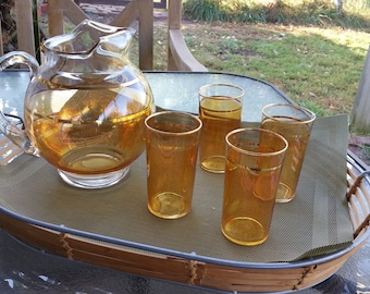 MidCentury Gold Striped Beverage Set - Round Pitcher and 4 Glasses