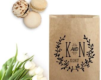 Farmhouse Wedding Favor Bag Stamp - Boho Wedding Monogram Stamp - Custom Wedding  Favor Bag - Trail Mix Bag - Monogram Stamp -Wedding Wreath