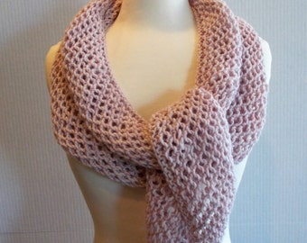 Hand Knitted Wool Blend Scarf, Knitted Blush, Light Pink Scarf
