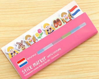 Netherlands World Costume Sticky Notes - Cute Sticky Notes / Cute Stationery / Kawaii Stationary / Kawaii Sticky Notes / Stick & Memo / Tabs