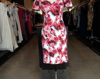 Robin dress:floral dress, cotton dress, summer dress, red roses dress
