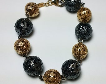 Vintage Sterling Silver hollow ball Bracelet *ON SALE for a limited time*