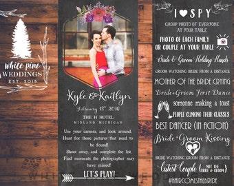 PRINTABLE I SPY Wedding Game card, Wedding menu card, photo menu card, 4x9 menu card, floral menu card, wedding hashtag, Valentine wedding