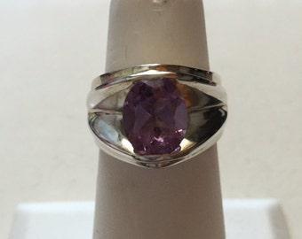 Vintage Modernist Sterling Silver Amethyst Ring Signed HAN Size 7