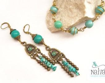 Turquoise brass long earrings - Boho jewelry