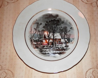 1977 Avon Representatives Old Grist Mill Plate Currier & Ives Winter Cabin Horse and Buggy Farm Prairie Scene Award Exclusive