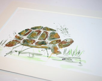 Tortoise original painting, tortoise art, tortoise lover gift, tortoise painting, tortoise watercolour, turtle art