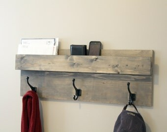 Entryway Storage, Cabin Style, Coat Rack, Mail Organizer, Farmhouse Rack with Mail Slot, Wood Decor, Mail Storage, Key Hooks Shelf Hooks
