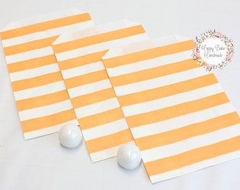Orange Rugby Stripe Bags, 4-3/4 by 7 Inches, 12 Bags, Orange Favor Bags, Orange Treat Bags, Striped Paper Bags, Favor Bags, Paper Treat Bags