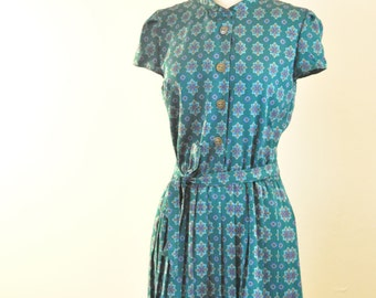 Vintage Refashioned Leslie Fay Jewel Tone Green/Turquoise Dress