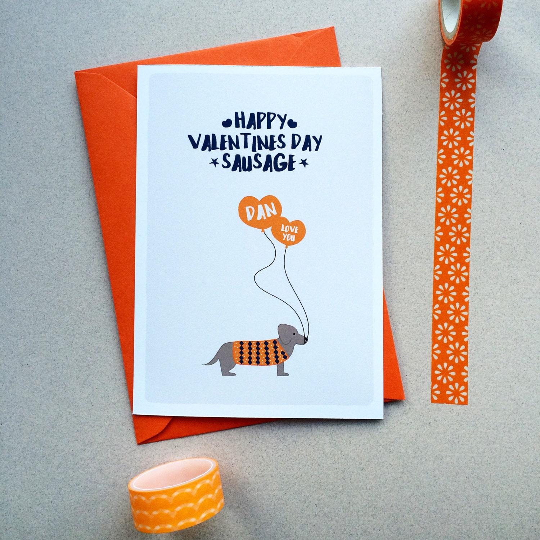 Personalised Sausage Dog Valentines Card Dachshund Card – Personalised Valentines Cards
