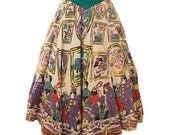 1950s Novelty Border Print Circle Skirt Museum Art Gallery