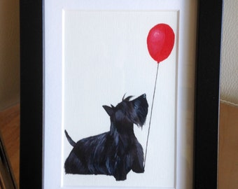 Wee Doggy Scottie dog framed original painting 'Big Balloon', cute dogs with a big balloon!  Scottish Terrier original art