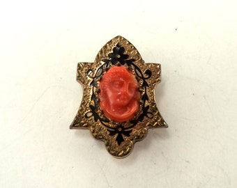 Antique Victorian Gold Filled Coral Cameo Brooch Black Enamel