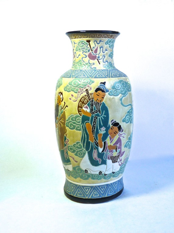 DONA POTTERY VIETNAM ~ South Vietnam ~ Hand Crafted Etched Pottery ~ Glazed Pottery ~ Depicting Life In Vietnam ~ Vintage 1920s Thru 1970s