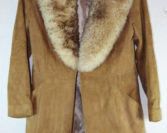 amazing original vintage coat* Penny Lane*60ies/70ie*label Scully Los Angeles* light brown leather*suede*Hippie*shearling coat*size Small*