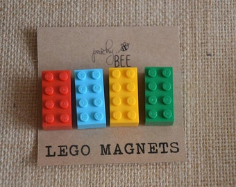 LEGO Magnets - Child Friendly Magnets - Great Gift Idea - Set of 4