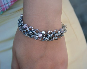 Chain Bracelet Crystal beads Silver Gift for her Wire wrap Button clasp By man Gift for women Shining bracelet Wire rings Gift for girl Fest