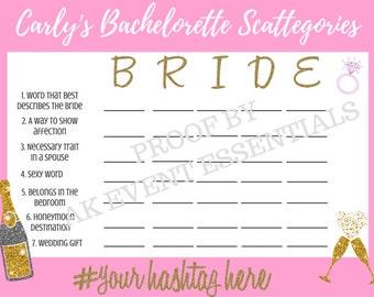 Custom Bachelorette or Bridal Scattegories Card, 5x7 Digital PDF or PNG Image Only