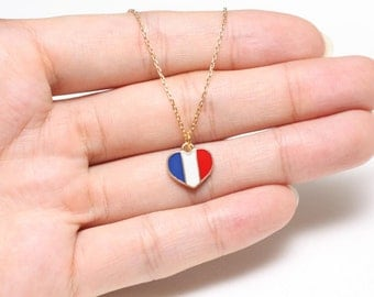 Love France Necklace, Tricolor Heart Necklace, Europe Necklce, Soccer Necklace, Charm Necklace, Small Necklace, Delicate Necklace