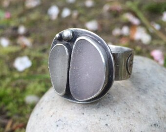 Sea Glass Ring, Size 7, Wide Band, Statement Ring, Seaglass, Unique, Mermaid, Beach, Rustic