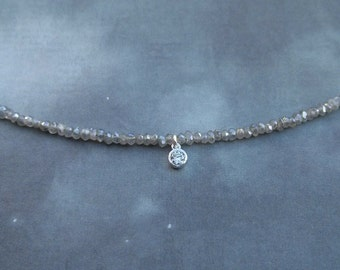 Labradorite and cubic zirconia necklace