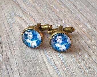 Portugal Amália azulejo cuff links, Portuguese tile replica cuff links, Portuguese jewelry, Portuguese majolica antique tiles replica, Fado