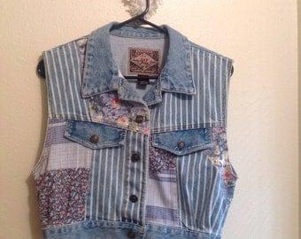 Denim Floral Patchwork Vest