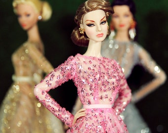 Pink dress for fashion royalty , Poppy Parker, Silkstone Barbie, fr2 , 12'' Fashion Doll