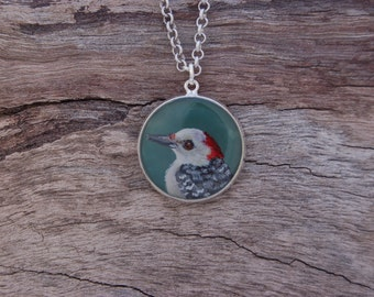 Hand Painted Woodpecker Pendant