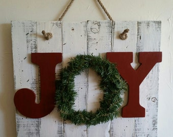 Rustic, handmade holiday JOY sign