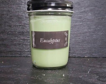 8oz Eucalyptus Scented Homemade Hand Poured Soy Wax Candle