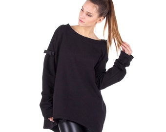 Black OVERSIZED/ Extra Long Sleeve /PULLOVER with BOW Detail/ Black Sweater