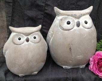 Stone Owls Set of 2