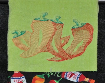 "Embroidered Dish Towel ""Chili Pepper Bunch"""