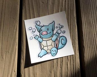 "Cute Little Pig ""Snortle"" Piggy Vinyl Die Cut Art Decal Indoor/Outdoor Sukoshi Buta Mini Pig Pigxel Art Pokemon Nintendo Squirtle"