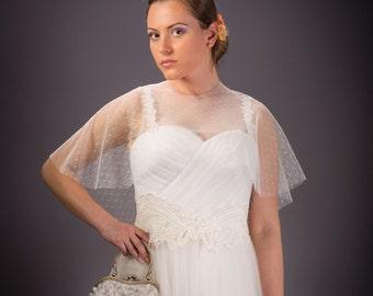 Vintage wedding dress, Drape wedding dress, Ivory wedding dress, Tulle Wedding dress, Bridal dress, Wedding dress