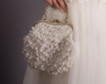 Vintage style clutch, Bridal Clutch, Bridal purse Lace, Bridal ivory clutch, Pearls clutch,bridal Clutch bag |  Bridal clutch bag ivory