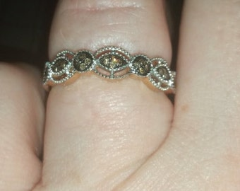Rose Gold Ring, Sz 7, with Champagne Diamonds & Marcasite, *Free Shipping* Limited time only