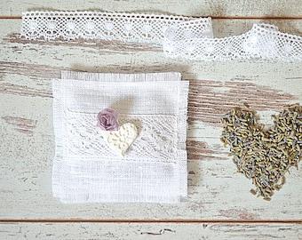 Fragrances lavender sachet - Linen lavender sachet - Scented Sachet pillow - Natural lavender pillow - White sachet - Wedding favor