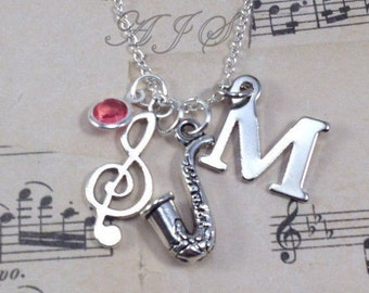 Saxophone Necklace Personalized Treble Clef Music Charm Saxophone Jewelry Gift for Sax Players Gifts initial birthstone birthday present man