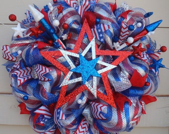 Fourth of July wreath, red white and blue wreath, patriotic wreath, 4th July wreath, Fireworks wreath, star wreath