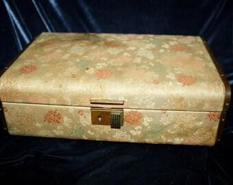 Vintage Farrington Chrysanthemum Satin Brocade Brass Jewelry Box