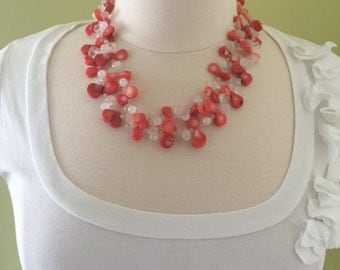 "Long teardrop shaped coral and crystal beaded layering necklace, 42"" L"