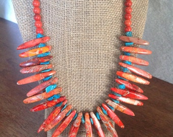 Orange Spike Bead & Kingman Turquoise Finished Bib Style Statement Necklace