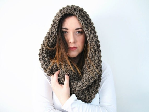 Knitted Hood Scarf Chunky Infinity Cowl In Color *Hickory* - The Kirtland Knit Hooded Cowl