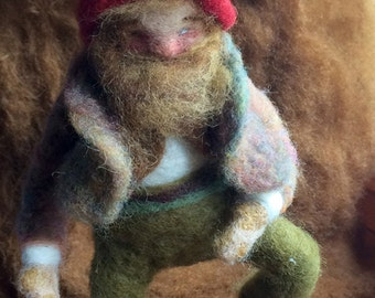 Needle Felted handmade Waldorf Toy gnome doll
