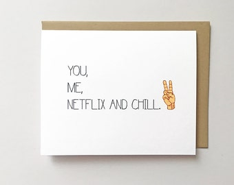 Netflix and chill card, Funny anniversary card, Funny Valentine's day card, Valentines card for him, Netflix card Cheeky Valentines day card