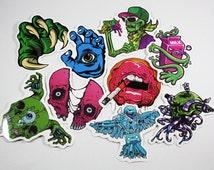 New School Art Stickers - New School Tattoo Skulls, Monsters, Eye Balls - Random Sticker Grab Bag